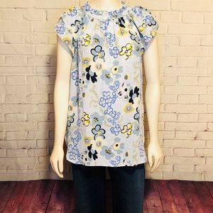 Ann Taylor Factory Floral Blouse Top M Career Wear